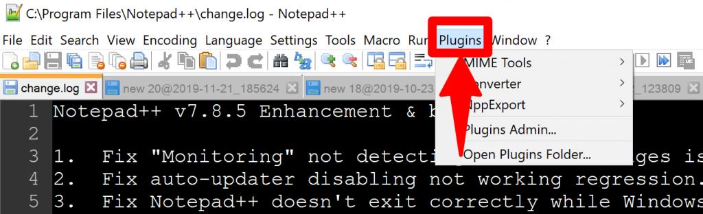 notepad++ plugin option