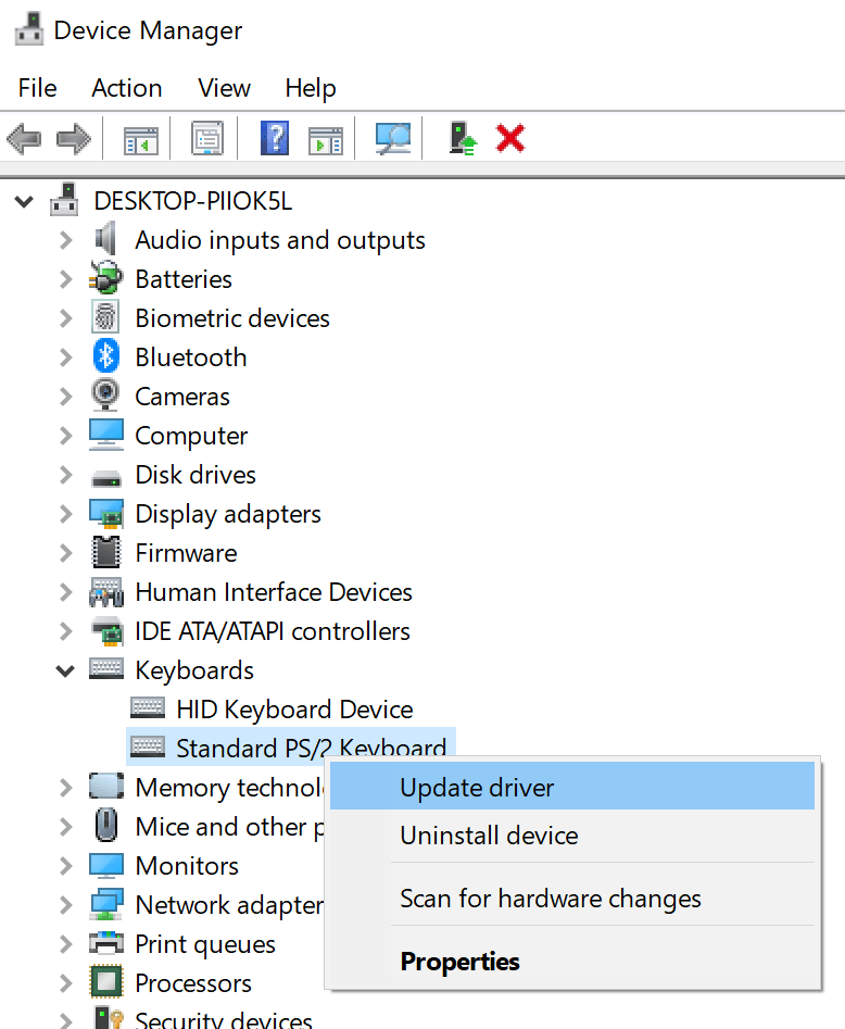 standard PS2 keyboard update keyboard driver option