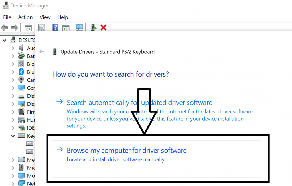 browse my computer for driver software option