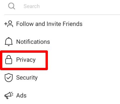 privacy option Instagram