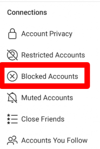blocked accounts list