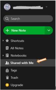 Evernote shared with me option