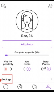 Andoid Badoo application profile settings