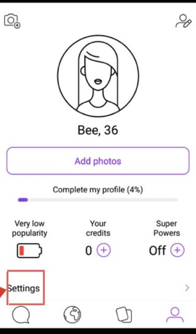 Andoid Badoo application profile settings