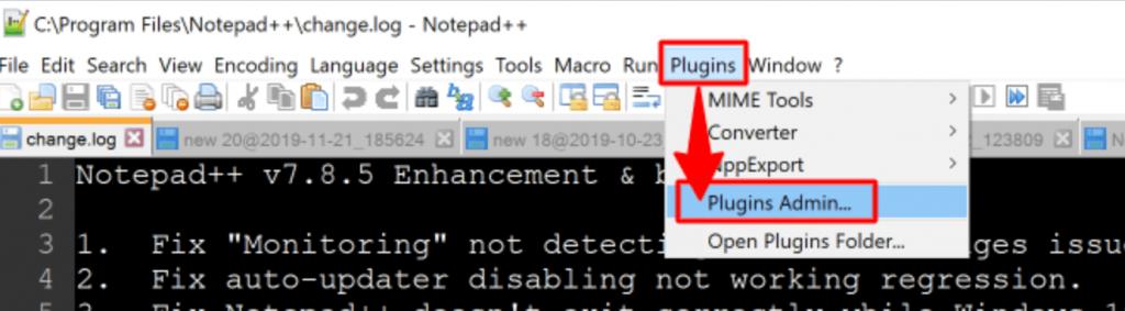 plugins admin or plugins manager option