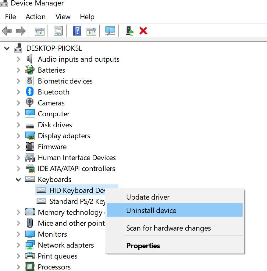 uninstall keyboard device in device manager