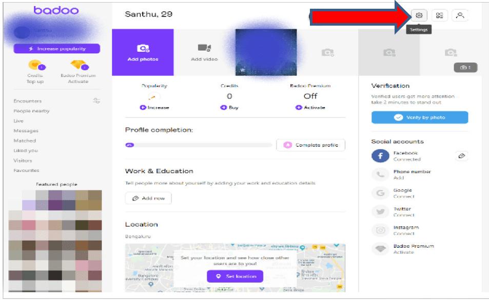 Badoo open account settings
