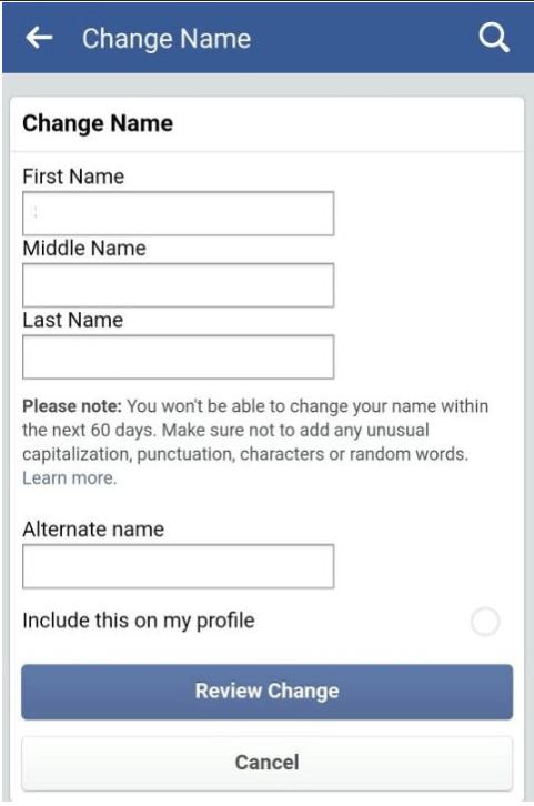 Facebook change name