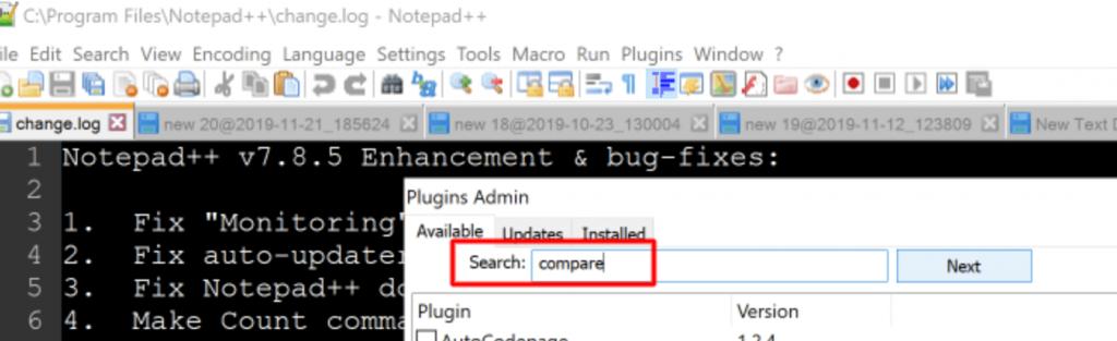 search compare option