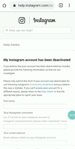 Instagram deactivated fill form request