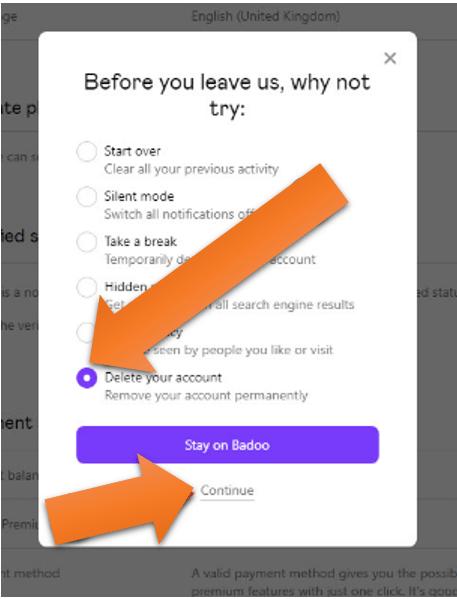 delete account continue option