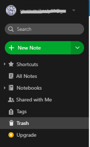 empty trash in evernote