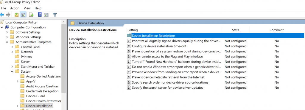 device installation restrictions