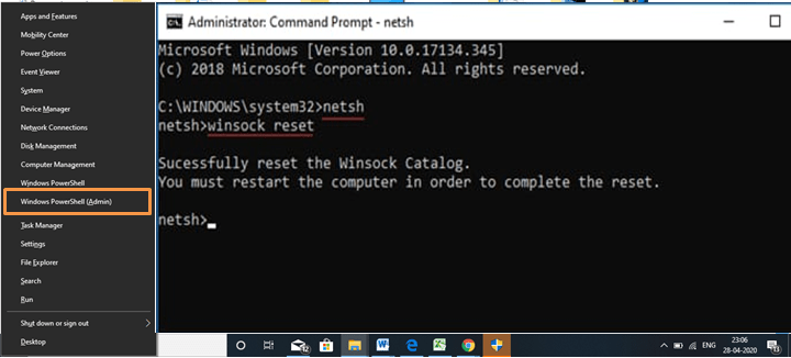 netsh command execution in command prompt windows 10