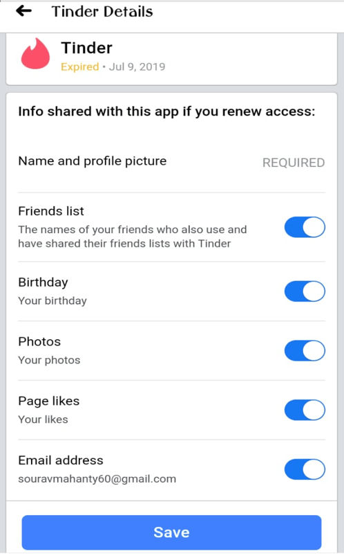 Tinder apps updated permission in Facebook