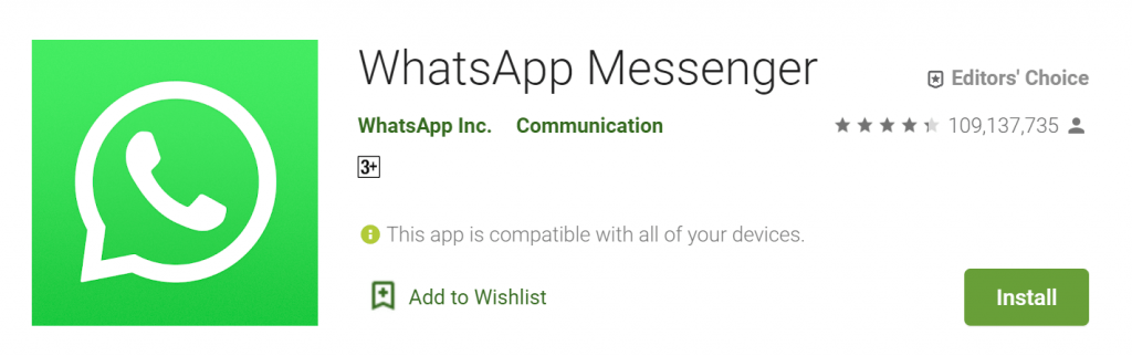 whatsapp install new account on playstore