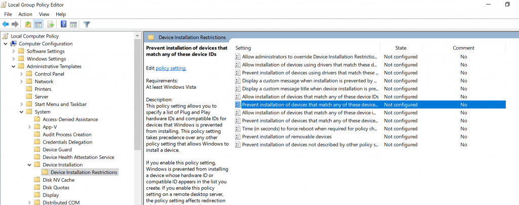 Prevent Installation of Devices not described by other policy settings option in group policy editor