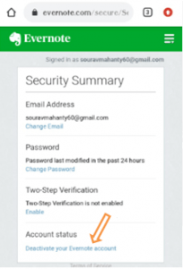 deactivate evernote account permanently option