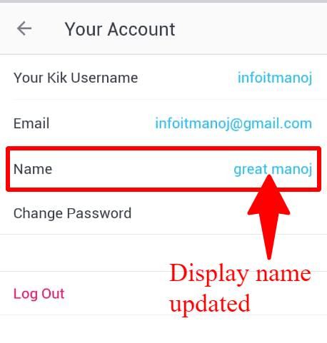 display name changed Kik account