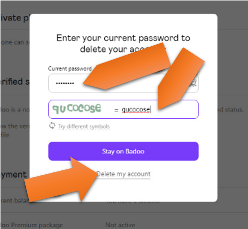 fill captcha password to delete account