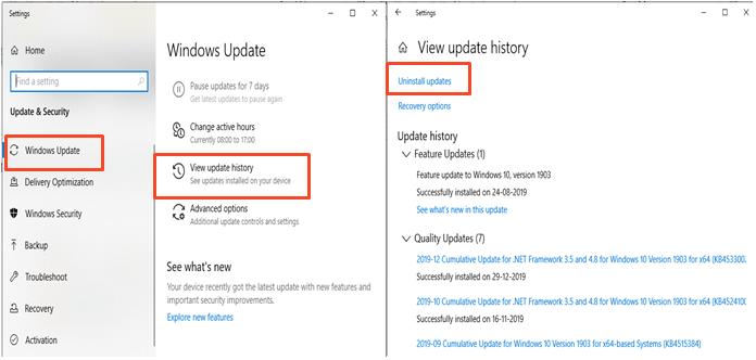 windows update view update histrory screen