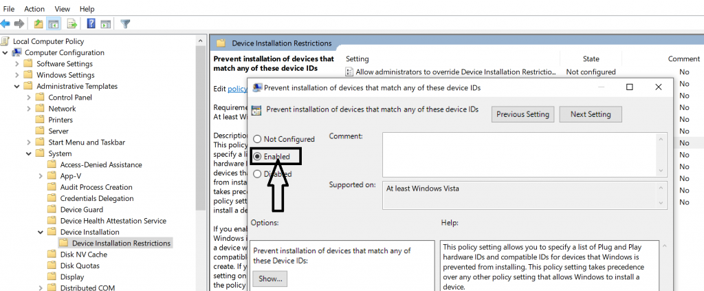 enable prevent installation of devices option in group policy editor