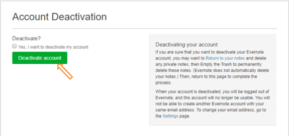 evernote confirm account deactivation
