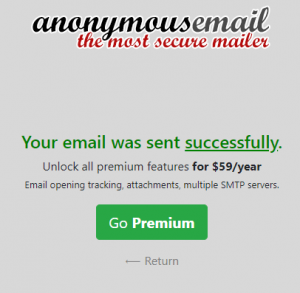 Email successful confirmation message