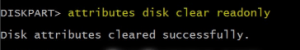 attribute diskclar readonly command