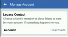 deactivate option in Facebook manage account