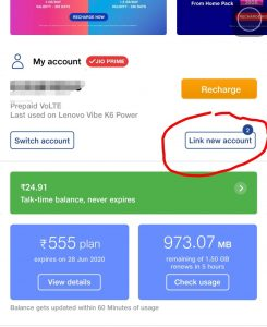 link new account in my jio app