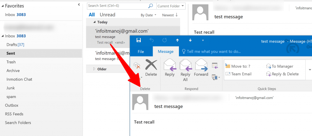 outlook sent items email