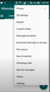 WhatsApp settings option