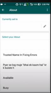WhatsApp about option