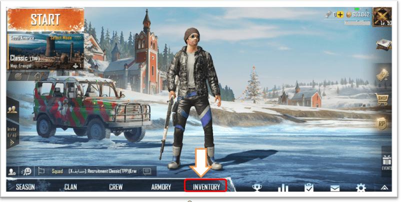 PUBG menu inventory option