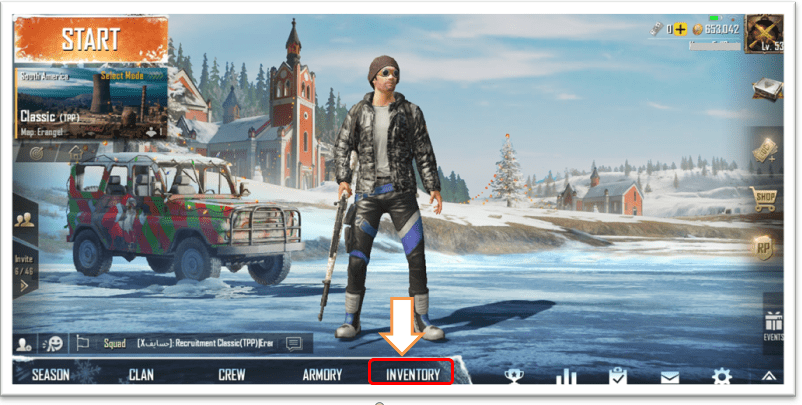 PUBG menu inventory option