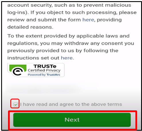 WeChat agree terms and condition
