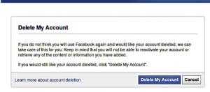 Facebook personal profile permanent delete account