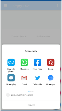 Sharing WhatsApp and other social media for empty texts