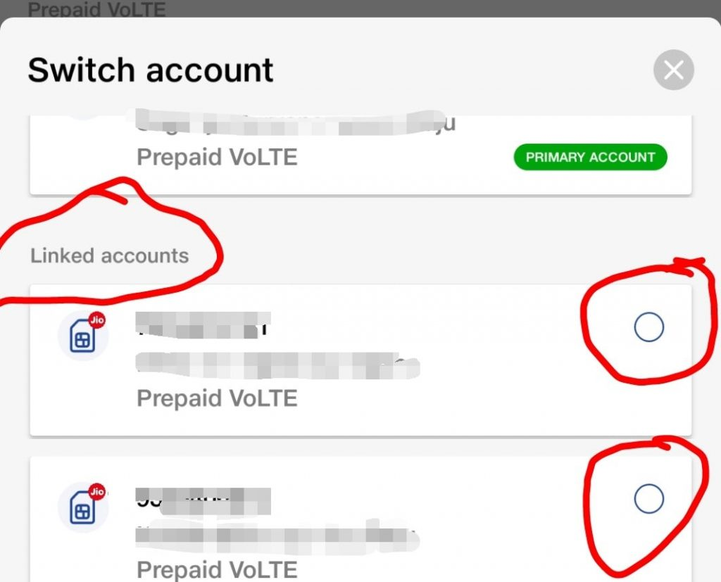details of linked existing account details