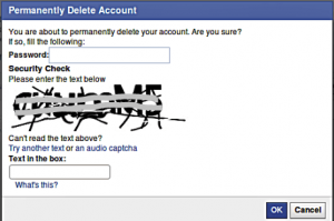 Permanent deleted Facebook account password and captcha code