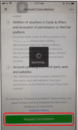 Request cancellation processing WeChat