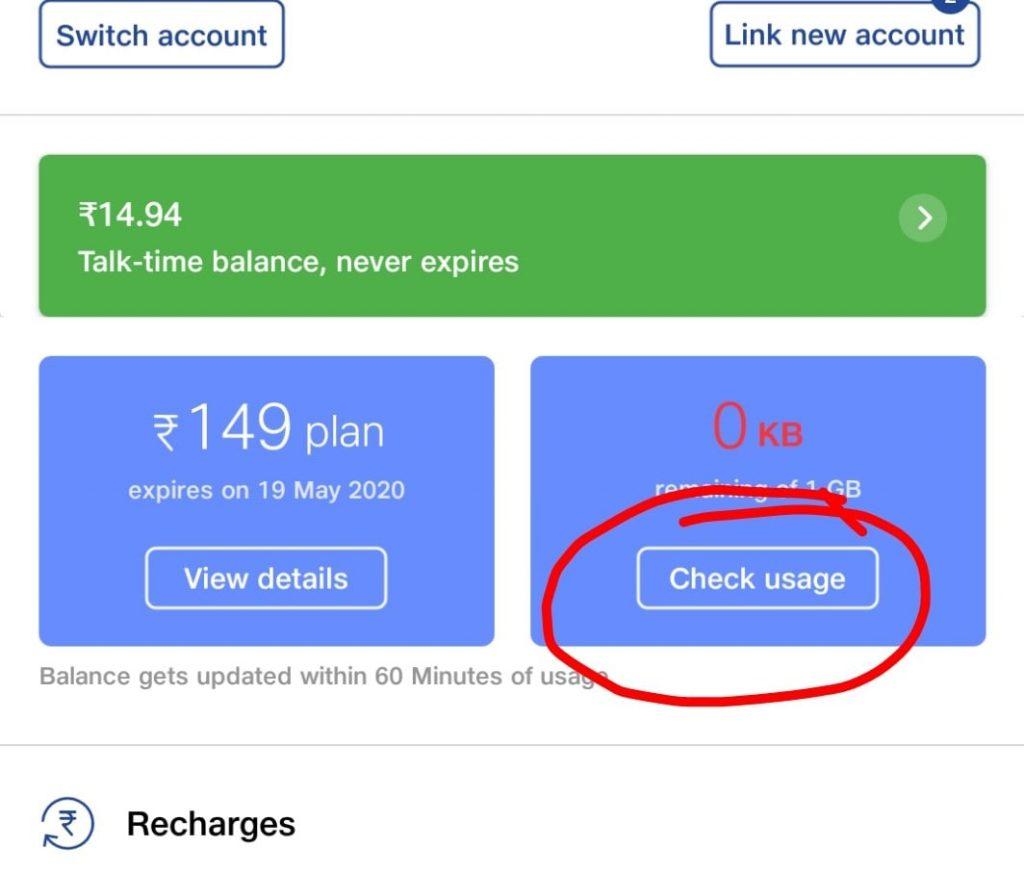 Internet data usage balance in my jio app