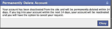 Facebook permanent delete account confirmation screen