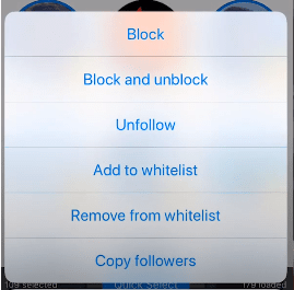 Blocking and Unfollow option
