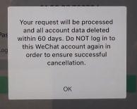 WeChat delete confirmation popup screen