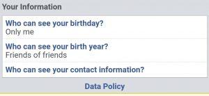 Facebook data privacy turn off birthday notification