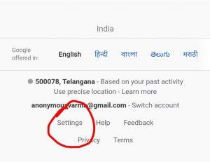 google search settings option