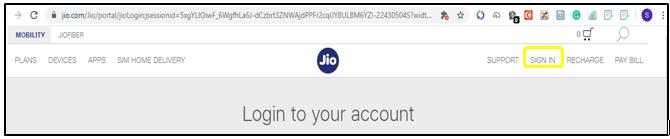 Jio app login account
