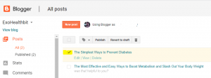 select the desired blog to delete